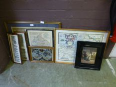 Four framed and glazed maps to include Warwickshire and the world together with a set of four