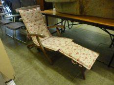 A teak folding steamer chair