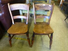 A pair of 19th century beech and elder chairs