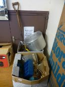 Two boxes containing a quantity of tools, fittings etc.