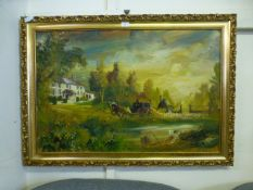 A gilt framed oil on canvas of coaching scene signed De Dior