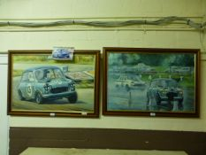 Two framed paintings of racing mini's by Robin Owen 1991 'The Last Race At Goodwood'.