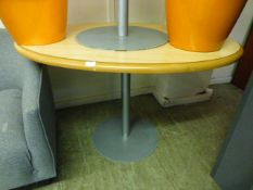 A modern oval topped table