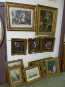 A selection of gilt framed prints of people, ships etc.