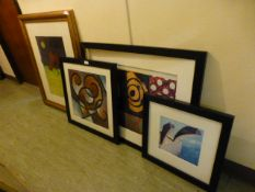 Four framed and glazed prints on an abstract theme