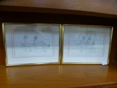 A pair of limited edition framed and glazed prints of young ballerinas (4199 of 5000) signed by