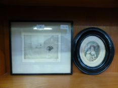 A Victorian black painted oval framed and glazed print of a young lady with dog together with a