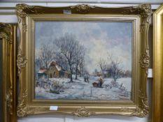 An ornate gilt framed oil on canvas of a winter village scene signed bottom right
