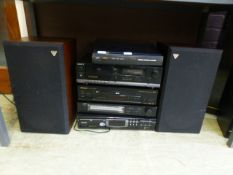 A selection of hi-fi equipment to include a JVC turntable, Sony tape player, Pioneer DVD player,