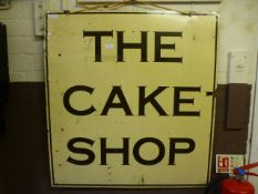 A double sided 20th century shop sign 'The Cake Shop'
