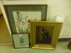 A gilt framed print of a young girl with a bunch of flowers together with a framed and glazed