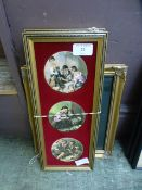 A pair of modern gilt framed pot lid style plaques together with a gilt picture frame