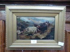 A gilt framed oil on board of farmers with cattle