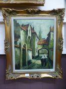 An ornate gilt framed oil on canvas of street scene signed Ronveaux