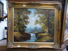 A modern gilt framed oil on canvas of river scene signed Charles
