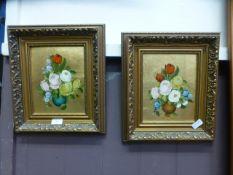 A pair of gilt framed oils on board of still life signed Rosini