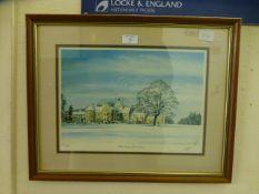 A framed and glazed limited edition print of Bilton Grange,
