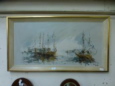 A mid-20th century framed oil on board of harbour scene signed bottom right Ben Maile