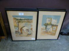 Five framed and glazed eastern style prints
