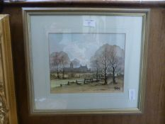 A framed and glazed water colour of farm scene signed Folland