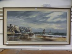 A mid-20th century rectangular framed oil on canvas of coastal scene with fishing boats signed D A