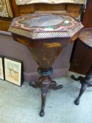 A Victorian inlaid trumpet work table CONDITION REPORT: Top loose Signs of age
