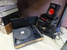 A turntable along with gaming speakers