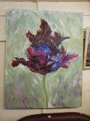 A large oil on canvas of a flower