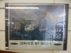A British Railways 'Service by Night' print CONDITION REPORT: Poster measures 71cm x