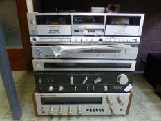 A Technics amplifier and tuner along with an Akai receiver, technics tape deck etc.
