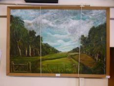 A framed acrylic on board of farm scene signed Lindsell