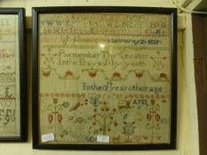 A framed and glazed sampler with bird and animal motifs