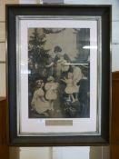 A framed and glazed monochrome print titled 'His first Christmas' after Elsley