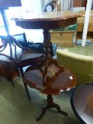 Two modern Italian occasional tables with marquetry to tops