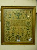 A framed and glazed sampler dated 1838