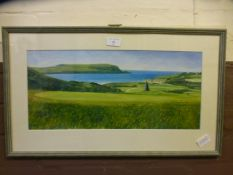 A frame and glazed watercolour of golf course signed Valerie K Wright