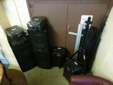 A quantity of DJ equipment to include projectors, speakers, screen etc.