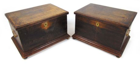 A pair of 18th century style oak boxes,