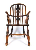 A 19th century elm, ash and beech Windsor chair, h. 103 cm, w. 51 cm, d.