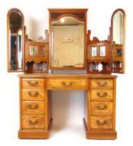 An Edwardian walnut dressing table,