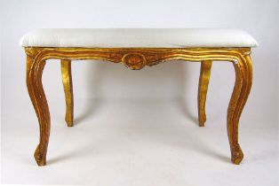A 19th style century French giltwood stool, the serpentine seat on carved and moulded legs, h.