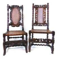Two late 17th century and later walnut Carolean chairs,