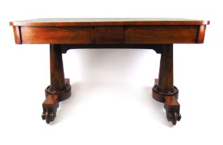 A 19th century rosewood library table,