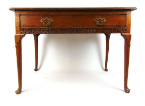 An 18th century elm and mahogany banded side table,