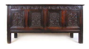 A late 17th/early 18th century oak coffer,