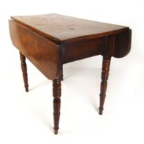 A 19th century elm drop leaf table, the top over turned legs, h. 70 cm, max w. 86 cm, d.