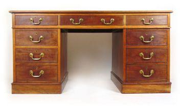 A 19th century mahogany twin pedestal desk,
