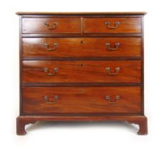 An 18th century mahogany chest of two short over three long drawers on bracket feet, h. 90 cm, w.