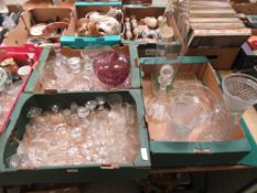 Three trays of assorted glassware to include vases, port glasses, decanter etc.