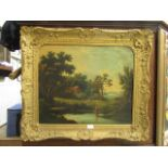A gilt framed oil on canvas of cottage by lake scene